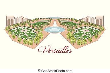 parigi, versailles, illustrazione