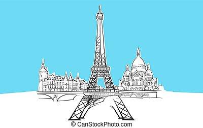 parigi, vettore, lineart, schizzo, francia