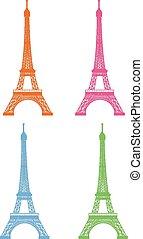 parigi, vettore, set, illustrazione