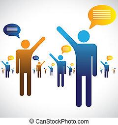 parlare, ciarlare, icone, molti, graphic., persone, illustrazione, uno, simboli, altro, chiacchierata, o, parlante, mostra