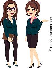 parlare, donne affari, standing