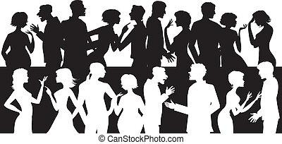 parlare, gruppo, persone