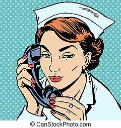 parlare, infermiera, scrivania, ricezione, telefono