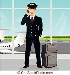 parlare, osservazione, bagaglio, ponte, giovane, telefono, aeroporto, fronte, pilota