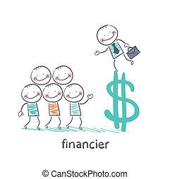 parlare, segno, dollaro, finanziere, persone