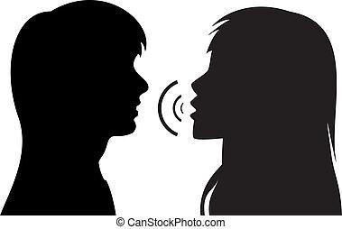 parlare, silhouette, donne, due, giovane