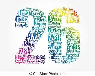 parola, 26th, nuvola, compleanno, felice