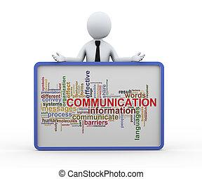 parola, 3d, uomo, comunicazione, etichette, affari