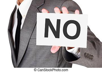 parola, affari, no, dire, espressione, scheda