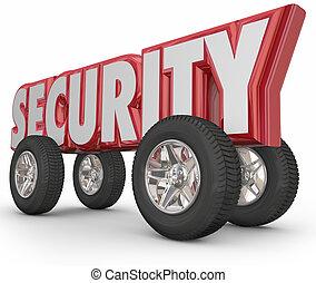 parola, assicurare, guida, automobile, sicuro, crimine, pneumatici, rosso, sicurezza, ruote, prevenzione, 3d