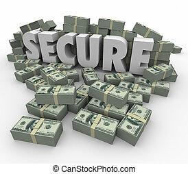 parola, assicurare, mucchi, soldi, sicuro, contanti, risparmi, finanziario, 3d