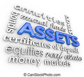 parola, attività, vincoli, collage, soldi, valore, stock, investimenti, ricchezza