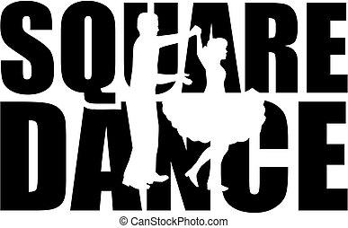 parola, ballo, disinserimento, quadrato