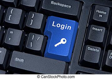 parola, bottone, chiave, tastiera, icon., login