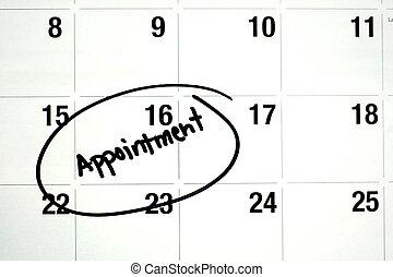 parola, calendario, appuntamento, circondato