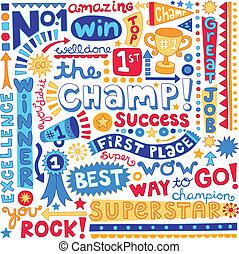 parola, campione, posto, primo, doodles