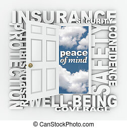 parola, collage, protezione, porta, sicurezza, assicurazione, 3d