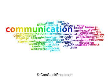 parola, comunicazione affari, concept., collage., tecnologia, nuvola