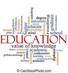 parola, concetto, educazione, nuvola