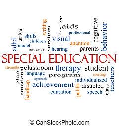 parola, concetto, educazione, speciale, nuvola