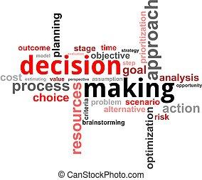 parola, decisione, -, nuvola, fabbricazione