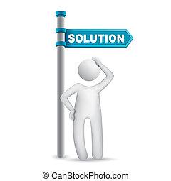 parola, direzionale, pensare, soluzione, segno, uomo, 3d