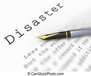 parola, disastro, emergenza, catastrofe, crisi, o, mostra