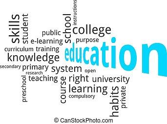 parola, educazione, -, nuvola