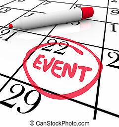 parola, evento, circondato, data, festa, calendario, riunione, giorno, speciale