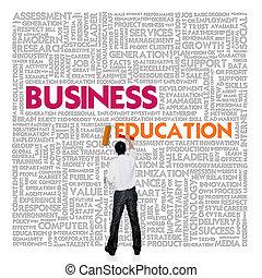 parola, finanza, concetto affari, educazione, nuvola