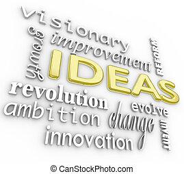 parola, fondo, -, idee, parole, innovazione, visione, 3d