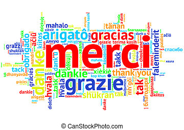 parola, francese, ringraziamento, merci, nube bianca, aperto