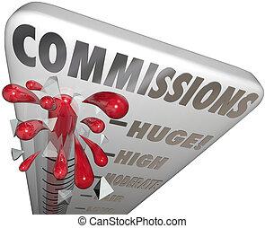parola, guadagnando, soldi, termometro, vendite, commissioni, misura
