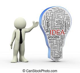 parola, idea, 3d, uomo, bulbo, etichette