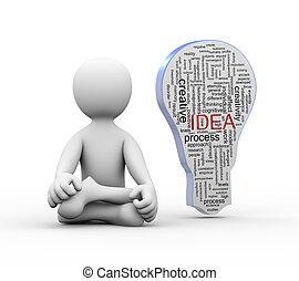 parola, idea, 3d, uomo, bulbo, posizione, yoga, etichette