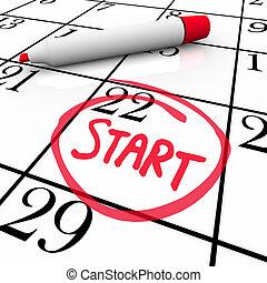 parola, inizio, circondato, data, calendario, cominciando, giorno, pennarello