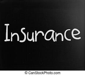 """parola, lavagna, gesso, bianco, """"insurance"""", scritto mano"""