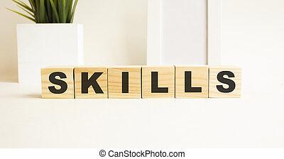 parola, legno, lettere, bianco, cubi, tavola., skills., fondo.