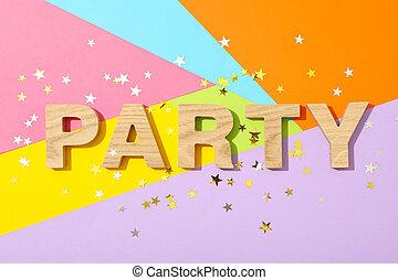parola, legno, multicolor, fondo, festa, lettere, foderare, brillare
