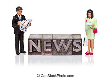 parola, letterpress, persone, miniatura, notizie, lettura