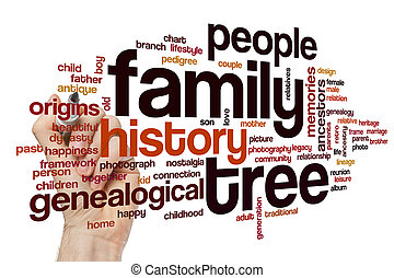 parola, nuvola, albero, famiglia