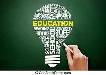 parola, nuvola, bulbo, educazione