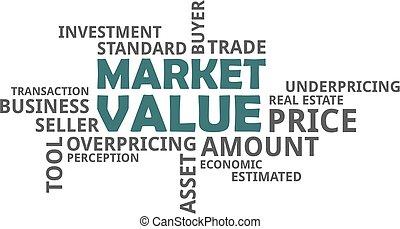 parola, nuvola, -, mercato, valore