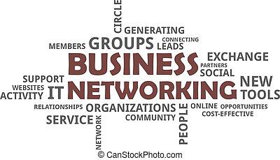 parola, -, nuvola, networking affari
