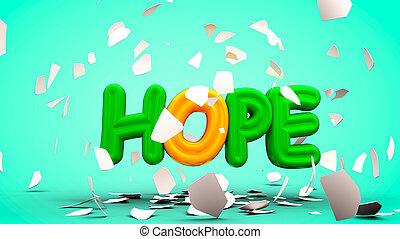 parola, ombreggiatura, scomposizione, uovo, speranza, fuori, 3d, rendering., calma