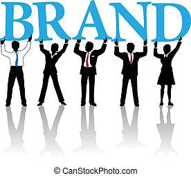 parola, persone affari, marca, costruire, identità