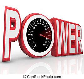 parola, potere, da corsa, energia, potente, tachimetro, velocità