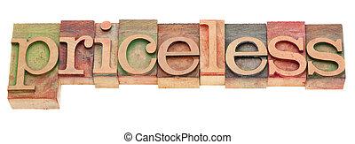 parola, pricesless, tipo, letterpress