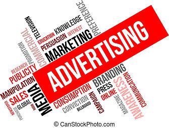 parola, -, pubblicità, nuvola