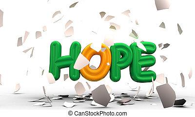 parola, rendering., scomposizione, calma, ombreggiatura, fuori, uovo, speranza, 3d